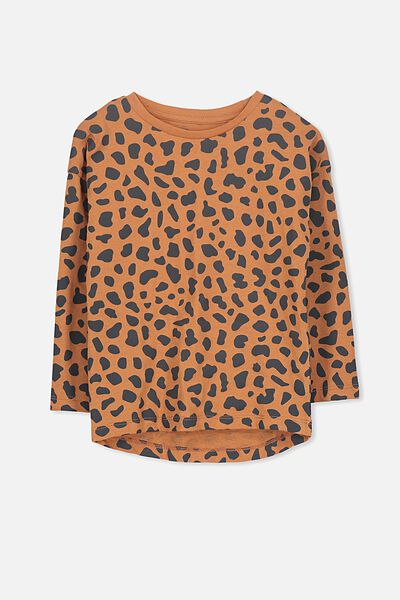 Penelope Long Sleeve Tee, WALNUT/LEOPARD/DROP