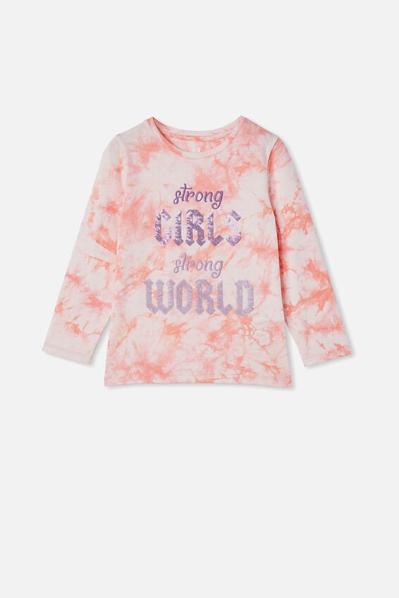 Stevie Long Sleeve Embellished Tee, MUSK MELON STRONG GIRLS