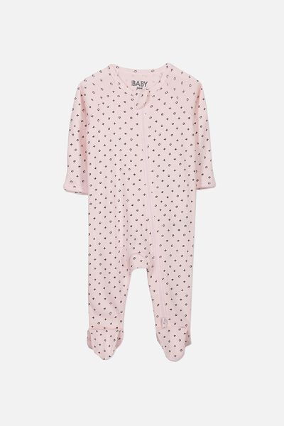 Newborn Long Sleeve Zip Through Romper, ESSENTIAL PINK/MINI NAUGHTS AND CROSSES