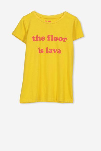 Penelope Short Sleeve Tee, YELLOW/THE FLOOR IS LAVA/SET IN