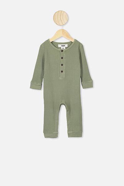 The Long Sleeve Waffle Romper, SILVER SAGE
