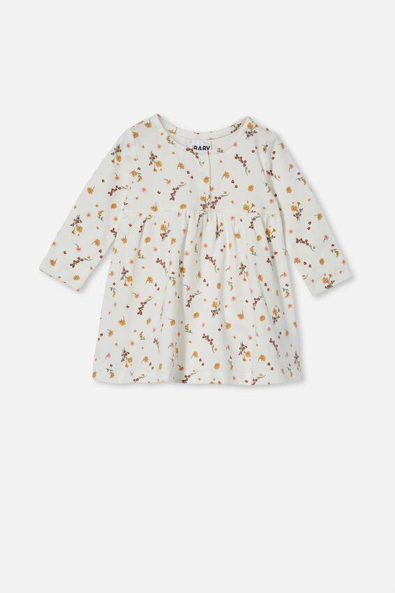 Molly Long Sleeve Dress, VANILLA/VINTAGE HONEY RACHAEL FLORAL
