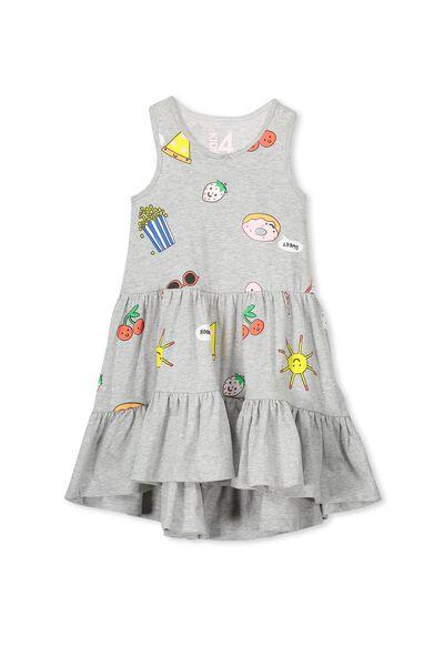 Christabel Dress, LT GREY MARLE/JUNK FOOD
