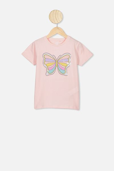 Stevie Ss Embellished Tee, CRYSTAL PINK/RETRO BUTTERFLY