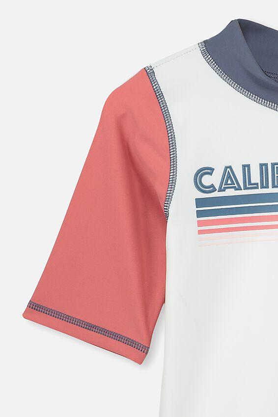 Finley Short Sleeve Rash Vest, CALIFORNIA/VANILLA