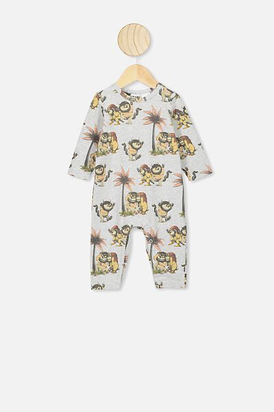 The Long Sleeve Snap Romper, LCN WB CLOUD MARLE/WILD THING
