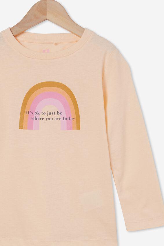 Penelope Long Sleeve Tee, PEACH TANG/IT S OKAY RAINBOW