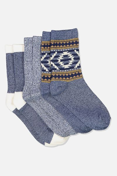 Kids 3 Pk Fashion Crew Socks, NAVY AZTEC