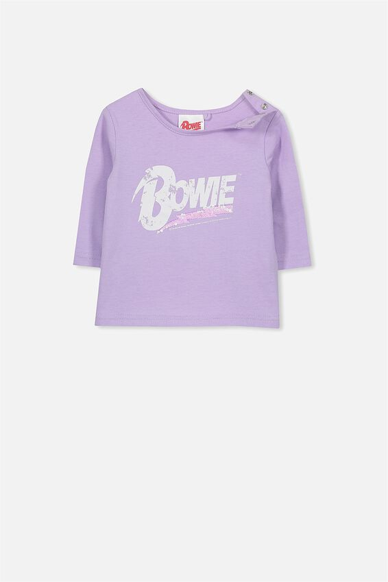 Bowie Baby Long Sleeve Tee, ORCHID BLOOM/BOWIE