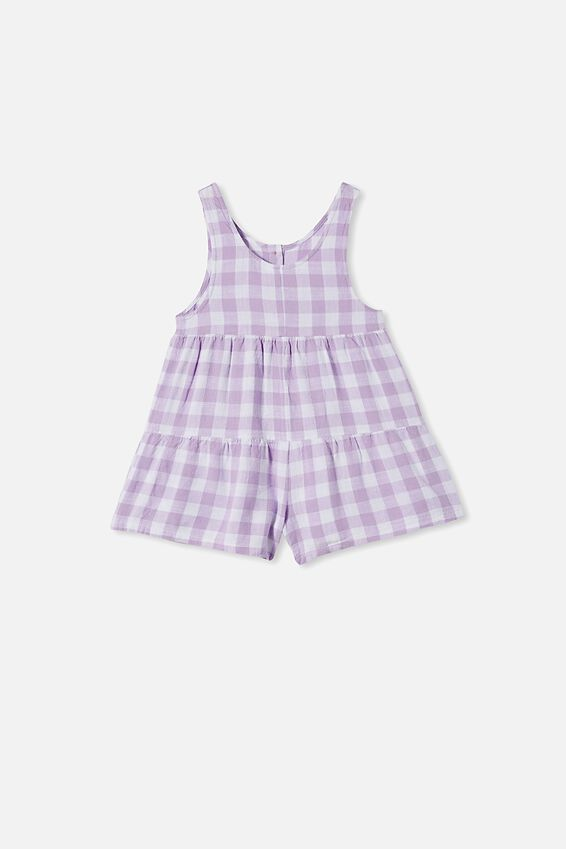 Bella Playsuit, SUMMER VIOLET GINGHAM