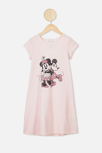 Carrie Longline Ss Nightie, LCN DIS CRYSTAL PINK/MICKEY MINNIE LOVE