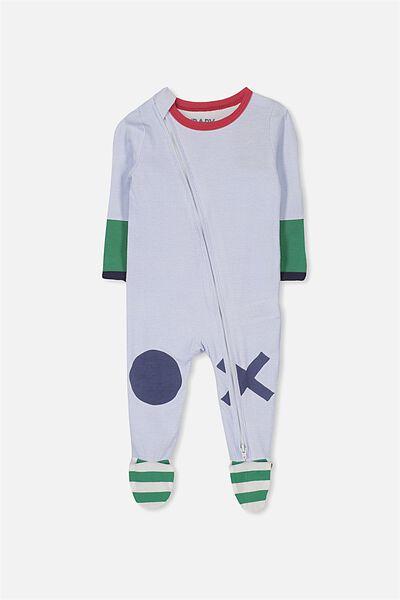 Sleep Mini Zip All In One Jumpsuit, VANILLA/BE HAPPY