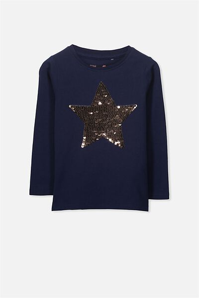 Anna Long Sleeve Split Hem, PEACOAT/REVERSE SEQUIN STAR