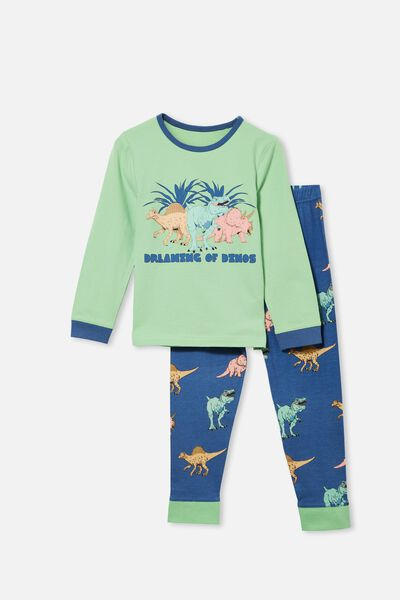Orlando Long Sleeve Pyjama Set, DREAMING DINOSAUR/ SPEARMINT