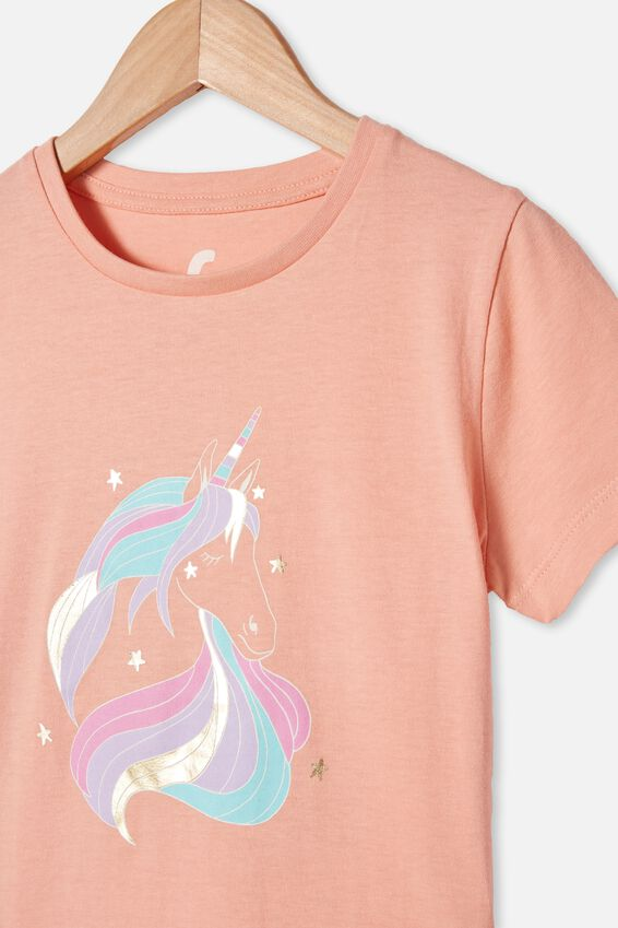 Penelope Short Sleeve Tee, PASTEL PEACH/SASSY UNICORN HAIR