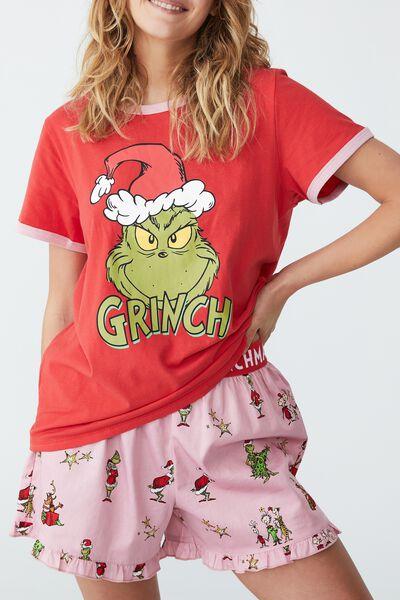 Eve Adults Short Sleeve Pyjama Set Licensed, LCN DRS GRINCH FACE MARSHMALLOW