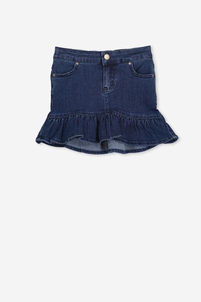 Kenzie Denim Frill Skirt, DARK BLUE WASH