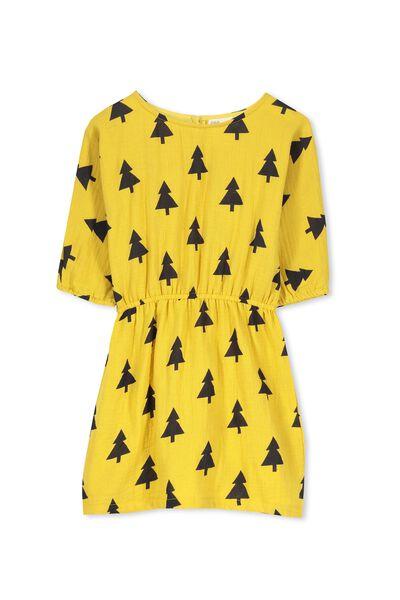 Miette Batwing Dress, SUPER LEMON/TREES