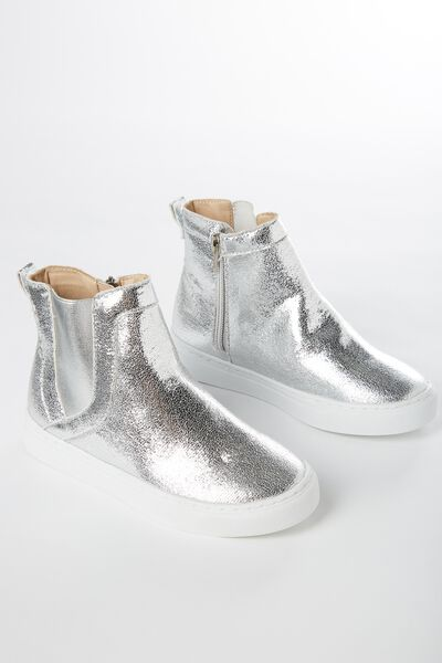 Darcy Gusset Boot, SILVER METALLIC