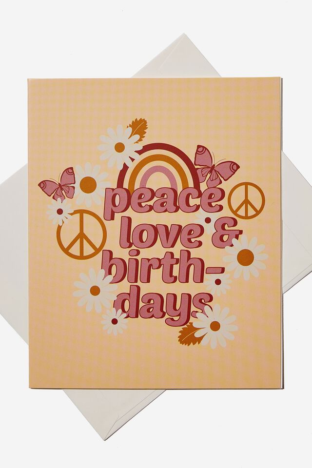 Birthday Gift Card, PEACE AND LOVE
