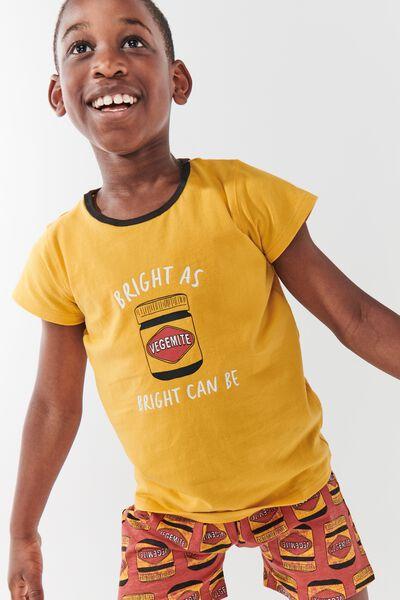 Hudson Short Sleeve Pyjama Set Licensed, LCN VEGEMITE/HONEY GOLD