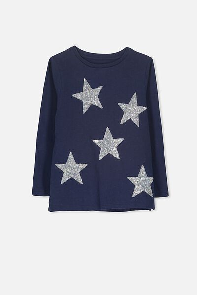 Anna Long Sleeve Split Hem, PEACOAT/ STARS