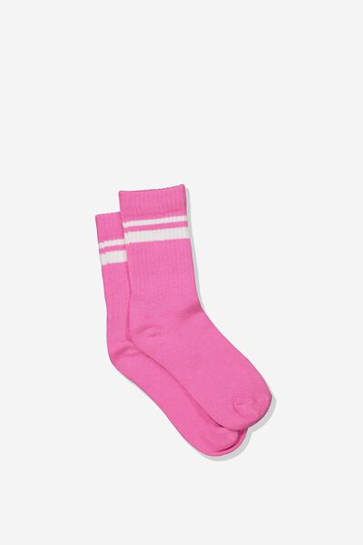 Retro Rib Crew Sock, PINK/WHITE STRIPE