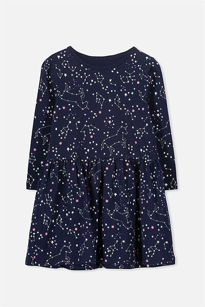 Lani Long Sleeve Dress, PEACOAT/UNICORN CONSTELLATION