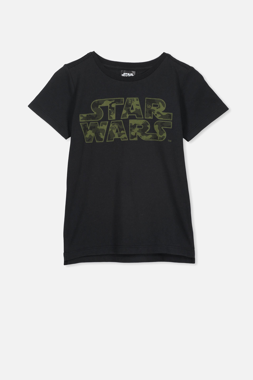 Star Wars Official Boys Black Camo Logo Boys T-Shirt