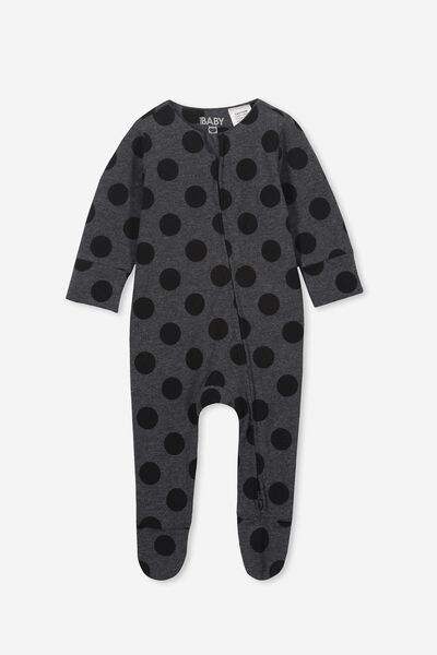 8ccbf5ca11d09 The Long Sleeve Zip Romper, DANA SPOT GRAPHITE MARLE/BLACK