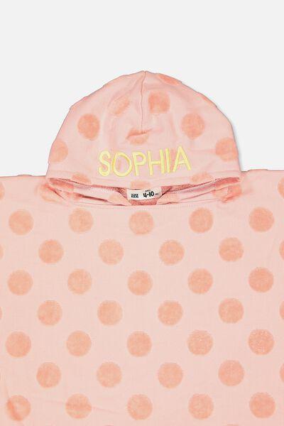 Personalised Hooded Towel, PINK SPOT