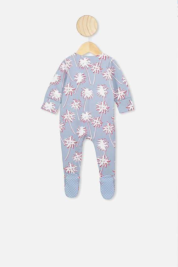 The Long Sleeve Zip Romper, DUSTY BLUE/TROPICAL PALMS
