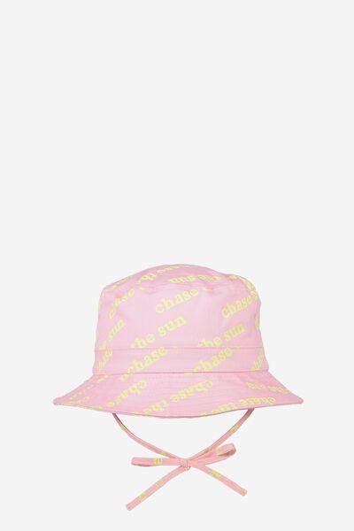 Kids Bucket Hat, PINK/SLOGAN
