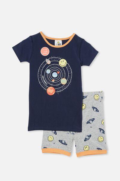 Ted Short Sleeve Pyjama Set Licensed, LCN SMILEY SPACE INDIGO