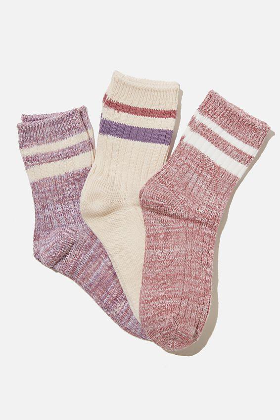 Kids 3Pk Crew Socks, BERRY TWIST