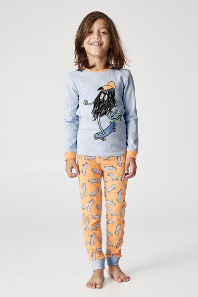 Orlando Long Sleeve Pyjama Set, SKATE MONSTER FROSTY BLUE