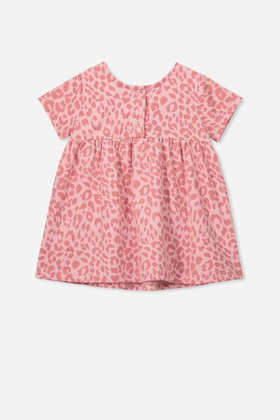 Milly Short Sleeve Dress, SWEET BLUSH/SUMMER OCELOT