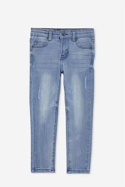 Boh Slim Leg Jean, ABRAISED BLUE/RIPS