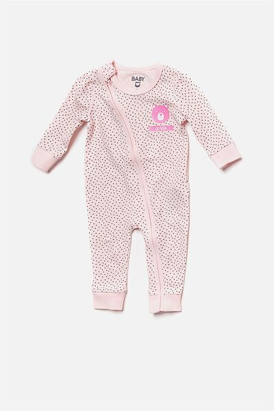 Mini Zip Footless Romper, SOFT PINK/GRAPHITE GREY SPOT (PERSONALISATION)