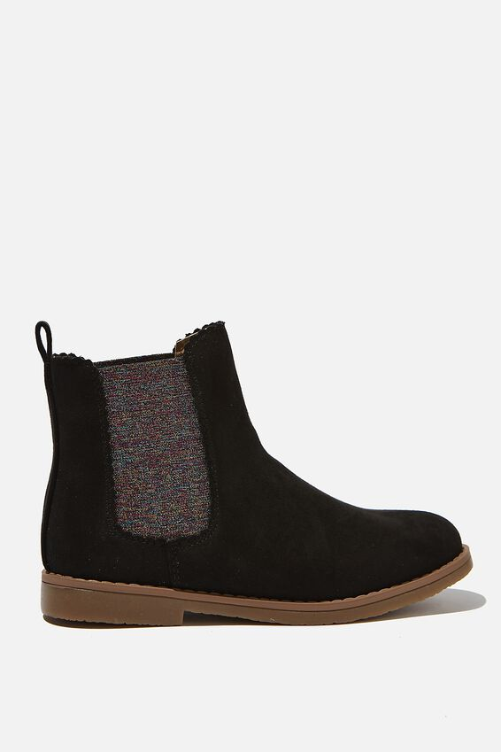 Chelsea Gusset Boots, WASHED BLACK RAINBOW SCALLOP