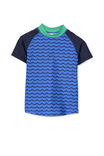 Finley Ss Rash Vest, YARD BLUE/WAVE