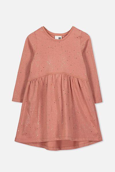 Freya Long Sleeve Dress, RUSTY BLUSH/ROSE GOLD SPECKLE