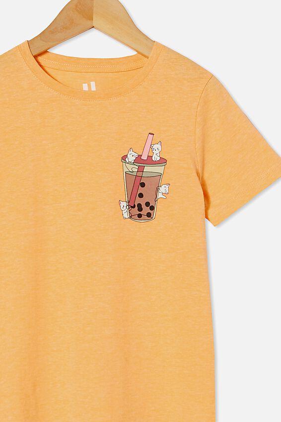 Penelope Short Sleeve Tee, PEACHY MARLE/BUBBLE TEA KITTY