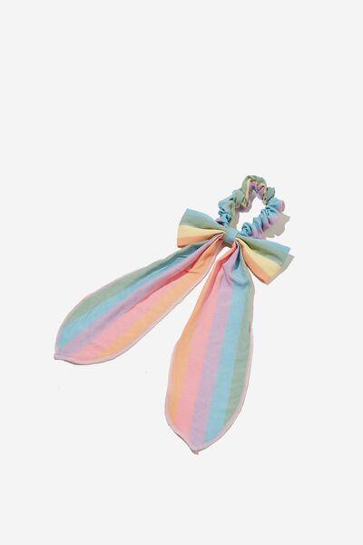 Bow Scrunchie, RAINBOW STRIPE