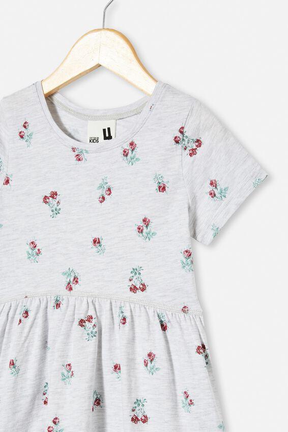 Freya Short Sleeve Dress, SUMMER GREY MARLE/VERY BERRY POSEY