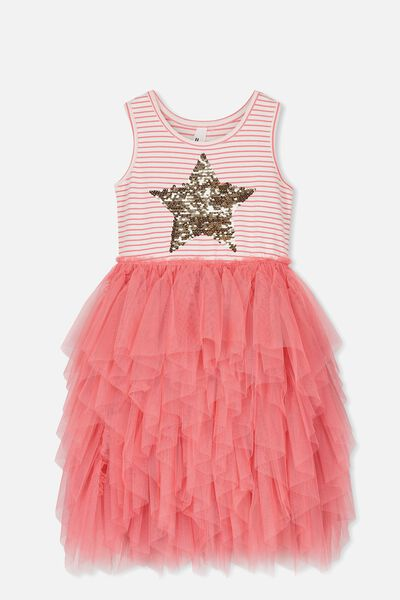 Iris Tulle Dress, CORAL STRIPE/STAR