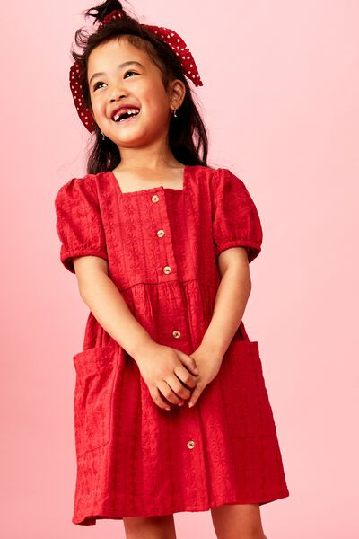 Keiko Short Sleeve Dress, LUCKY RED