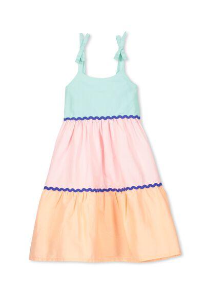 Molly Dress, BLUE TINT/COL BLOCK