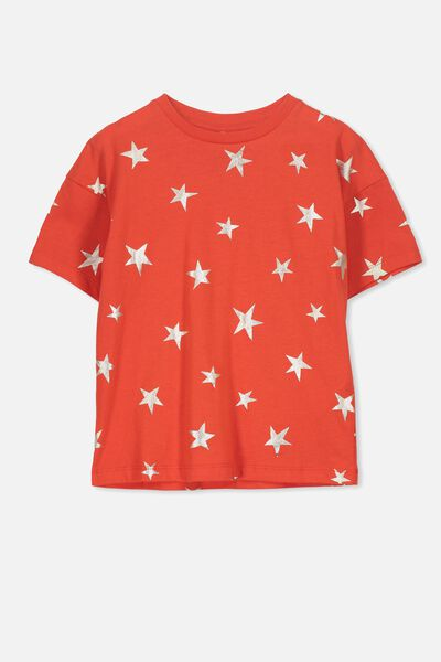 Penelope Ss Loose Fit Tee, ENGINE RED/GOLD STARS