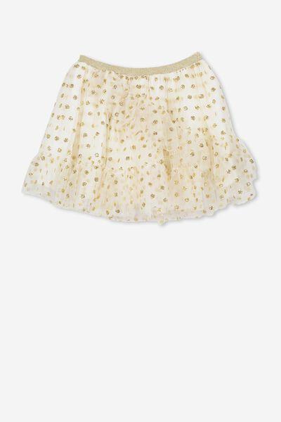 Trixiebelle Tulle Skirt, CREAM/GOLD DOT RUFFLE